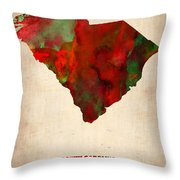 South Carolina Watercolor Map Throw Pillow