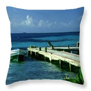 South Caye Belize Boat Dock Throw Pillow