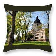 South Dakota Capitol Oil Painting Throw Pillow