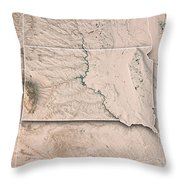 South Dakota State Usa 3d Render Topographic Map Neutral Border Throw Pillow