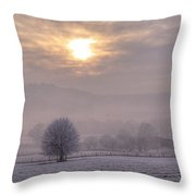 South Downs Hoar Frost Throw Pillow