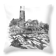 South Fork Lighthouse L I N Y  Bw Throw Pillow