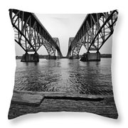 South Grand Island Bridge In Black And White Throw Pillow