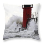 South Haven Lighthouse 3 Throw Pillow