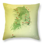 South Korea Map Square Cities Straight Pin Vintage Throw Pillow
