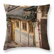 South Korean Hanok Street Throw Pillow