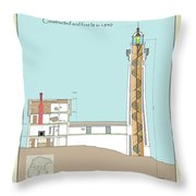 South Manitou Island Lighthouse Color Drawing Throw Pillow