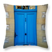 South Of France Rustic Blue Door Throw Pillow by Nomad Art And  Design