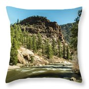 South Platte In Heavy Spring Flows And Wind Throw Pillow