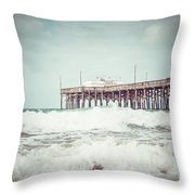 Southern California Pier Vintage 1950s Picture Throw Pillow by Paul Velgos