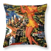 Southern California - United Air Lines - Retro Travel Poster - Vintage Poster Throw Pillow