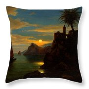 Southern Coastal View By Moonlight Throw Pillow