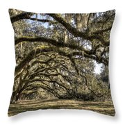 Southern Live Oaks With Spanish Moss Color Throw Pillow