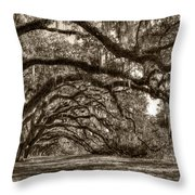 Southern Live Oaks With Spanish Moss Throw Pillow