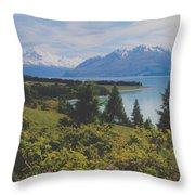 Southern New Zealand Lake Pukaki Throw Pillow