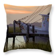 Southern Shrimp Boat Sunset Throw Pillow