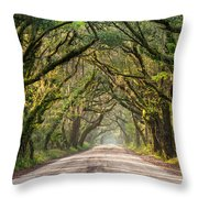Southern Tree-lined Dirt Road Of Dreams Throw Pillow