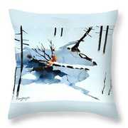 Southern Vermont Roadside Runoff Throw Pillow