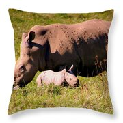 Southern White Rhino With A Little One Throw Pillow