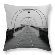Southport Pier At Sunset With Walkway And Tram Lines Throw Pillow