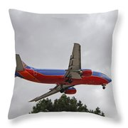 Southwest Airlines 737 On Approach Into Las Vegas Nv Throw Pillow