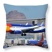 Southwest Boeing 737-7h4 N230wn Colorado One Phoenix Sky Harbor January 24 2016 Throw Pillow