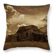 Southwest Navajo Rock House And Lightning  Throw Pillow