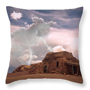Southwest Navajo Rock House And Lightning Strikes Throw Pillow
