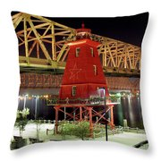 Southwest Reef Lighthouse, Berwick, Louisiana Throw Pillow