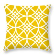 Southwestern Inspired With Border In Mustard Throw Pillow