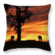 Southwestern Sunrise Color, Silhouetted Oak Tree And Three Horses Throw Pillow