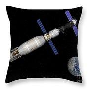 Soyuz Deep Space Explorer Docked Begins Throw Pillow
