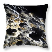 Space Art. Moon And Us Flag Throw Pillow