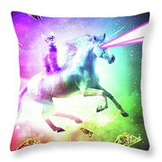 Space Cat Riding Unicorn - Laser, Tacos And Rainbow Throw Pillow