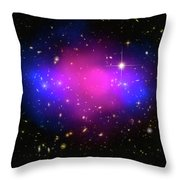 Space Image Galaxy Cluster Purple Blue Black Throw Pillow