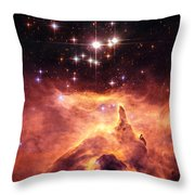 Space Image Orange And Red Star Cluster With Blue Stars Throw Pillow