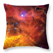 Space Image Red Orange And Yellow Nebula Throw Pillow