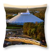 Space Mountain And Monorail Peach Throw Pillow