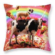 Space Pug Riding Cow Unicorn - Pizza And Taco Throw Pillow