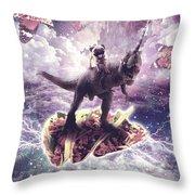 Space Pug Riding Dinosaur Unicorn - Pizza And Taco Throw Pillow
