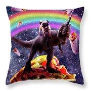 Space Pug Riding Dinosaur Unicorn - Taco And Burrito Throw Pillow