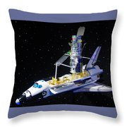 Space Shuttle With Hubble Telescope Throw Pillow