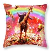 Space Sloth Riding Giraffe Unicorn - Pizza And Taco Throw Pillow