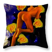 Spacelady On Yellow Roses Throw Pillow