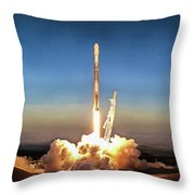 Spacex Iridium-5 Mission Falcon 9 Rocket Launch Throw Pillow