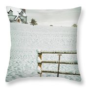 Spade Leaning Against Fence In The Snow Throw Pillow