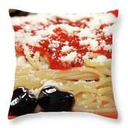 Spaghetti With Tomatoes And Olives Food Background Throw Pillow