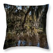 Spainsh Moss Hanging Over Pond On Middleton Place Throw Pillow