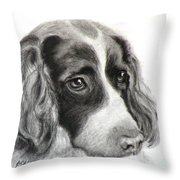 Spaniel Drawing Throw Pillow