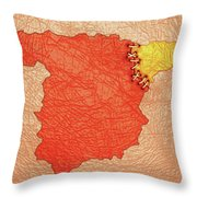 Spanish And Catalonia Tattoo With Stitches Throw Pillow